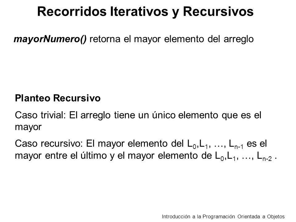 Recorridos Iterativos y Recursivos Introducción a la Programación Orientada a Objetos Planteo Recursivo Caso trivial: El arreglo tiene un único elemen