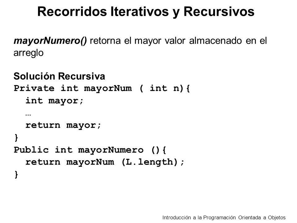 Recorridos Iterativos y Recursivos Introducción a la Programación Orientada a Objetos Solución Recursiva Private int mayorNum ( int n){ int mayor; … r