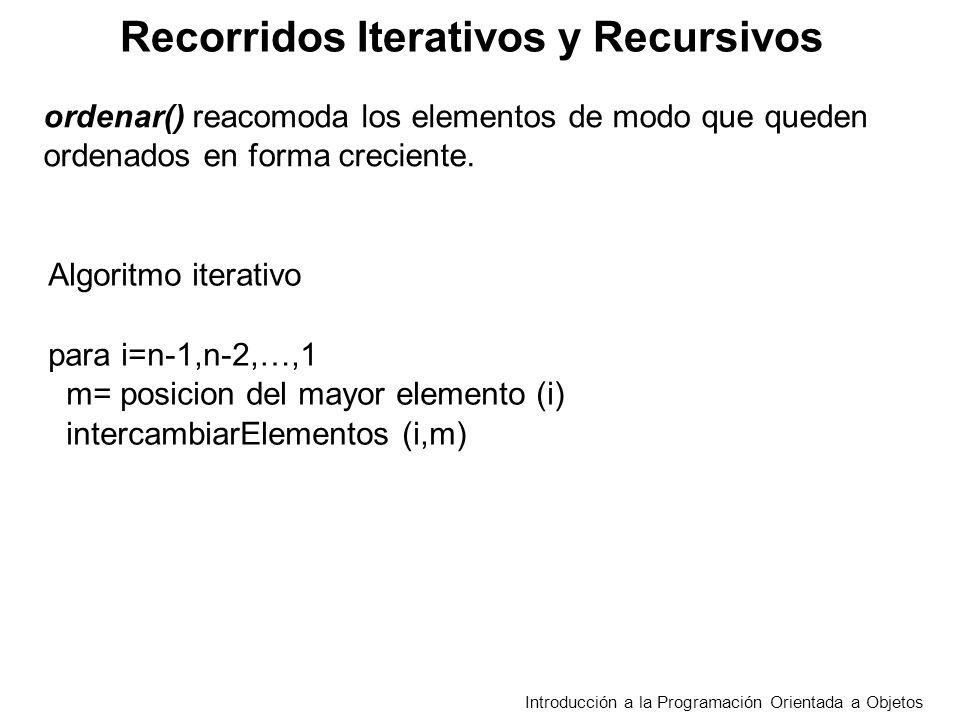 Recorridos Iterativos y Recursivos Introducción a la Programación Orientada a Objetos Algoritmo iterativo para i=n-1,n-2,…,1 m= posicion del mayor ele