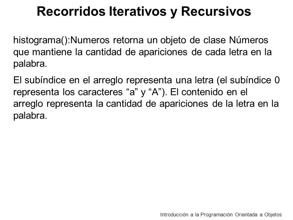 Recorridos Iterativos y Recursivos Introducción a la Programación Orientada a Objetos histograma():Numeros retorna un objeto de clase Números que mant