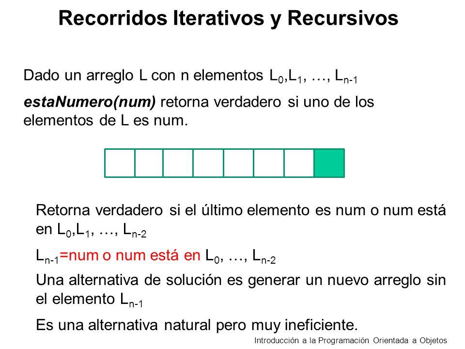 Recorridos Iterativos y Recursivos Introducción a la Programación Orientada a Objetos Dado un arreglo L con n elementos L 0,L 1, …, L n-1 estaNumero(num) retorna verdadero si uno de los elementos de L es num estaNum(num,n) false n<=0 true L n-1 =num estaNum(num,n-1) en otro caso Definimos estaNum agregando un argumento que la cantidad de elementos considerados