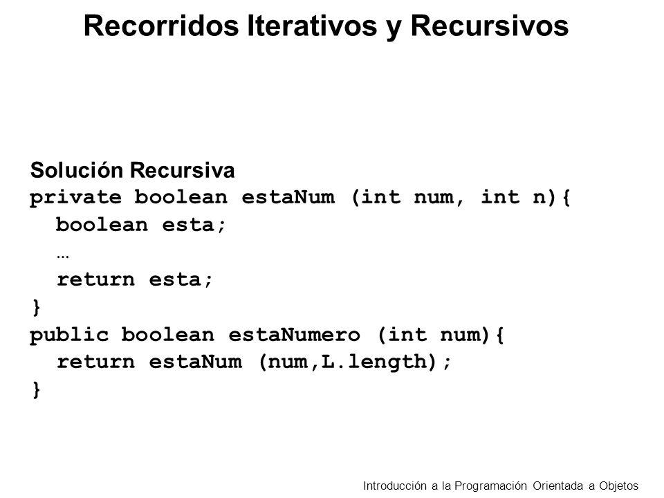 Recorridos Iterativos y Recursivos Introducción a la Programación Orientada a Objetos Planteo Iterativo Comenzando con el segundo comparar cada elemento del arreglo con el mayor encontrado entre los anteriores, para la primera comparación asumir que el primero es el mayor.
