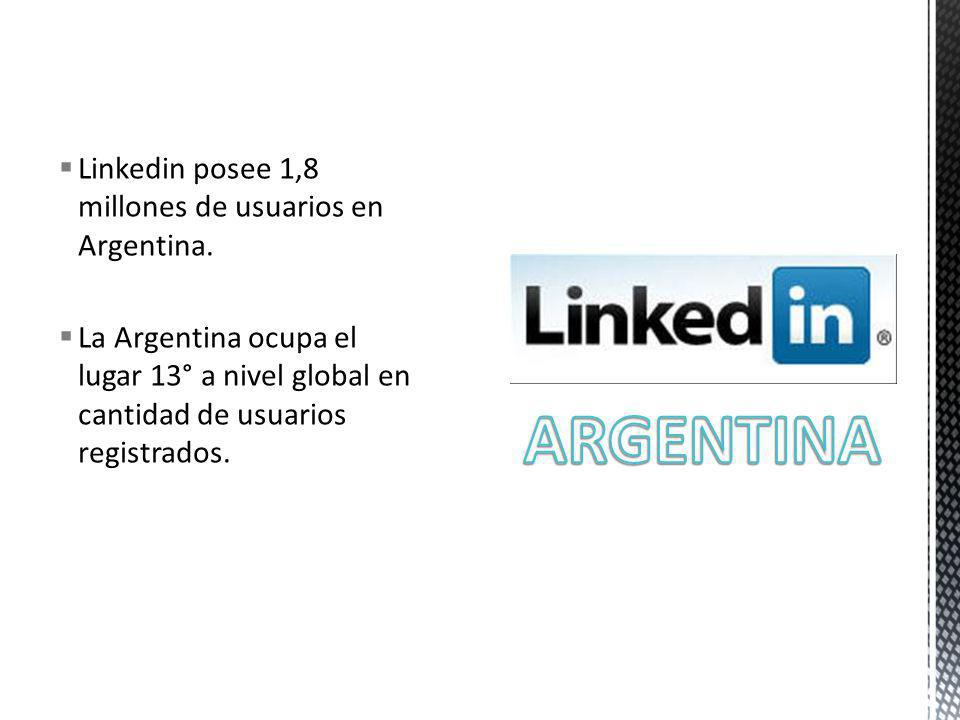 Linkedin posee 1,8 millones de usuarios en Argentina. La Argentina ocupa el lugar 13° a nivel global en cantidad de usuarios registrados.