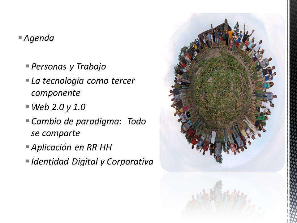 Agenda Personas y Trabajo La tecnología como tercer componente Web 2.0 y 1.0 Cambio de paradigma: Todo se comparte Aplicación en RR HH Identidad Digit