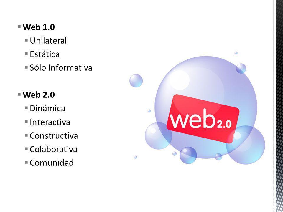 Web 1.0 Unilateral Estática Sólo Informativa Web 2.0 Dinámica Interactiva Constructiva Colaborativa Comunidad
