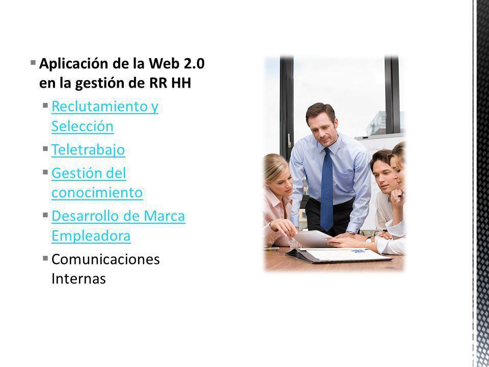 Aplicación de la Web 2.0 en la gestión de RR HH Reclutamiento y Selección Reclutamiento y Selección Teletrabajo Gestión del conocimiento Gestión del c