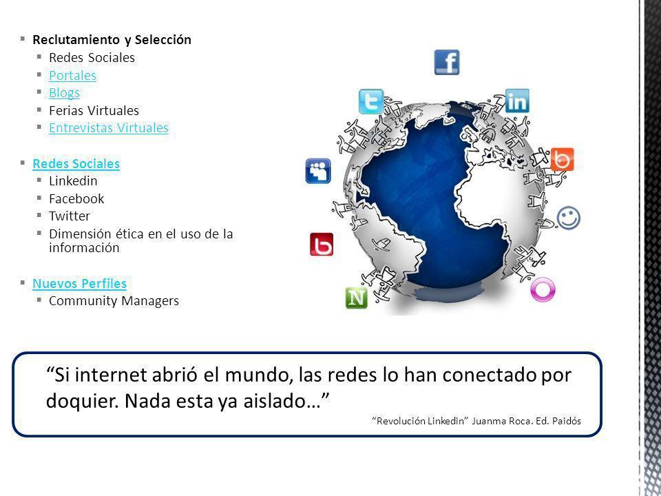 Reclutamiento y Selección Redes Sociales Portales Blogs Ferias Virtuales Entrevistas Virtuales Redes Sociales Linkedin Facebook Twitter Dimensión étic