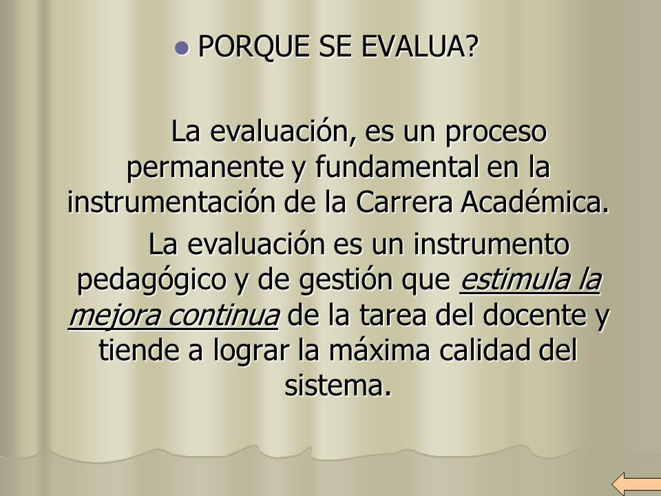PORQUE SE EVALUA? PORQUE SE EVALUA? La evaluación, es un proceso permanente y fundamental en la instrumentación de la Carrera Académica. La evaluación