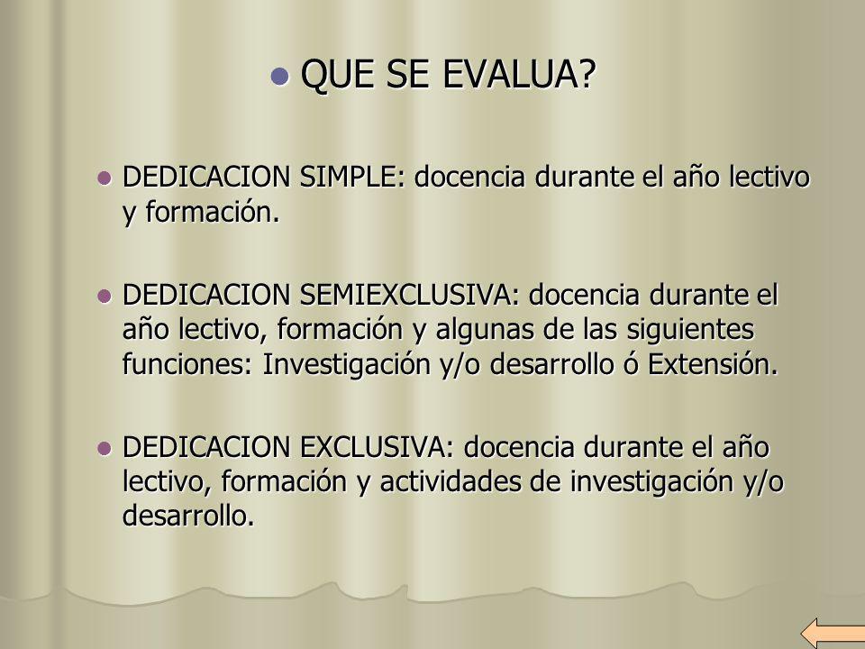 QUE SE EVALUA? QUE SE EVALUA? DEDICACION SIMPLE: docencia durante el año lectivo y formación. DEDICACION SIMPLE: docencia durante el año lectivo y for