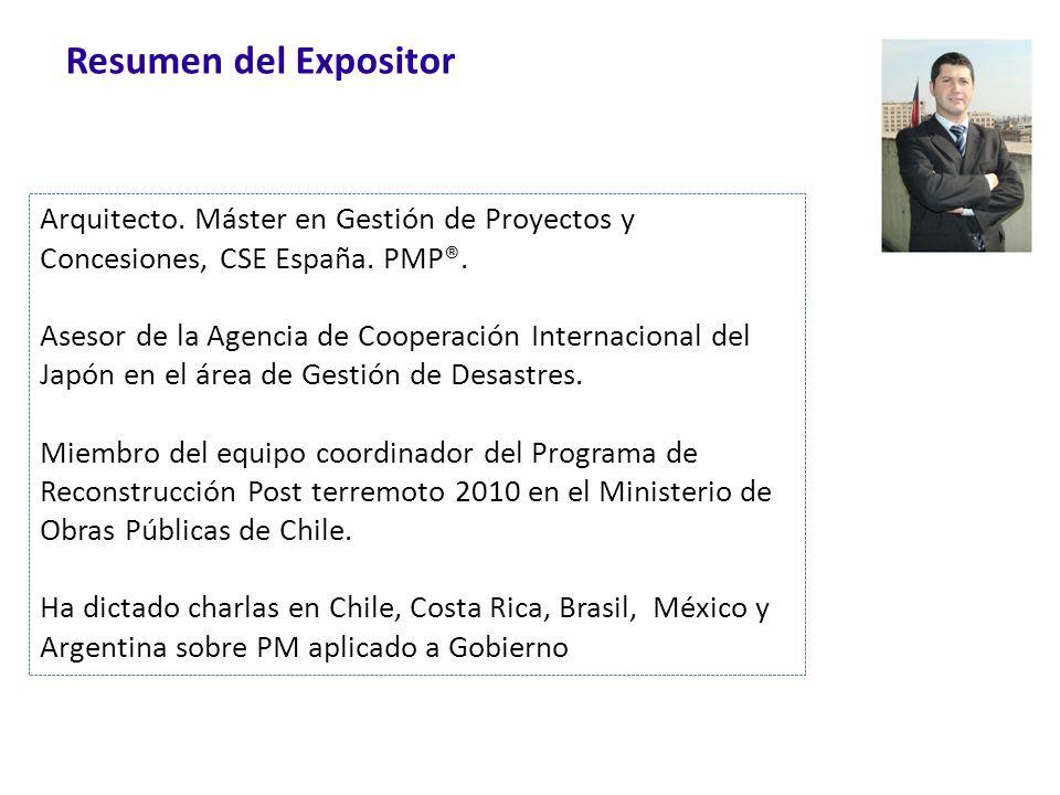 Resumen del Expositor Arquitecto. Máster en Gestión de Proyectos y Concesiones, CSE España. PMP®. Asesor de la Agencia de Cooperación Internacional de