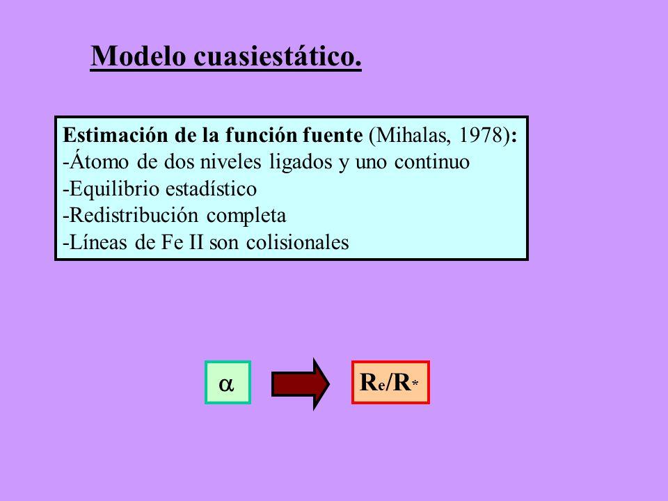 Modelo cuasiestático. Estimación de la función fuente (Mihalas, 1978): -Átomo de dos niveles ligados y uno continuo -Equilibrio estadístico -Redistrib