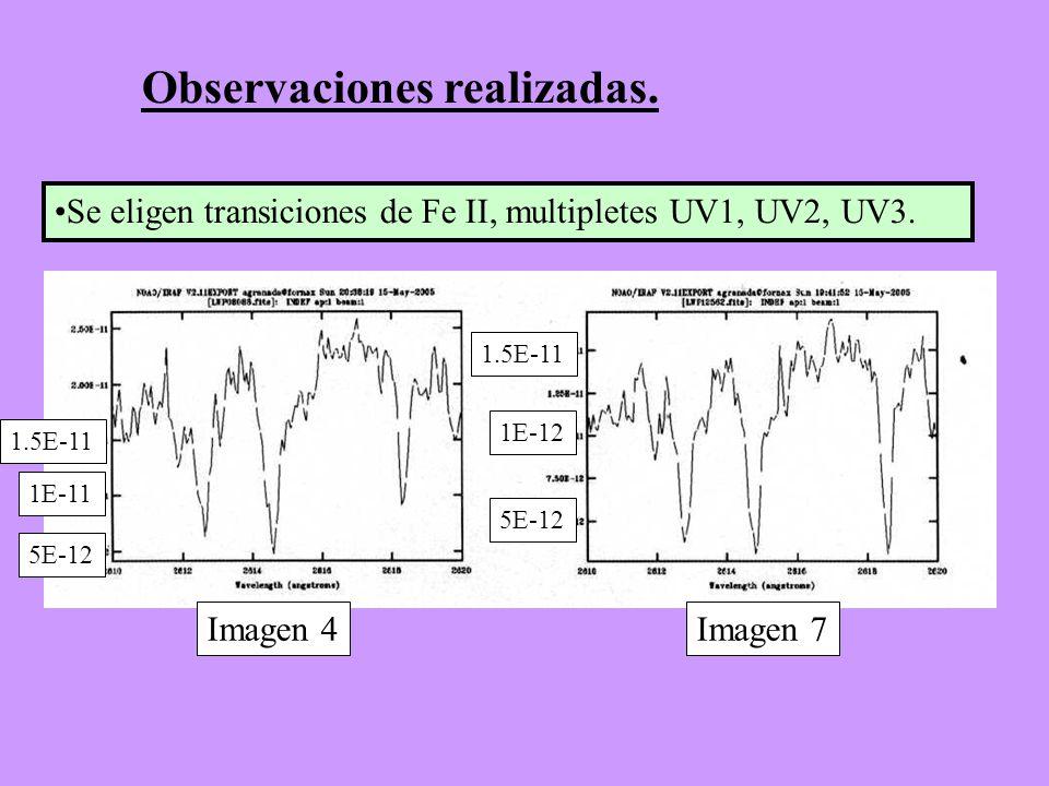 Se eligen transiciones de Fe II, multipletes UV1, UV2, UV3. Observaciones realizadas. 5E-12 1E-11 5E-12 1E-12 1.5E-11 Imagen 4Imagen 7