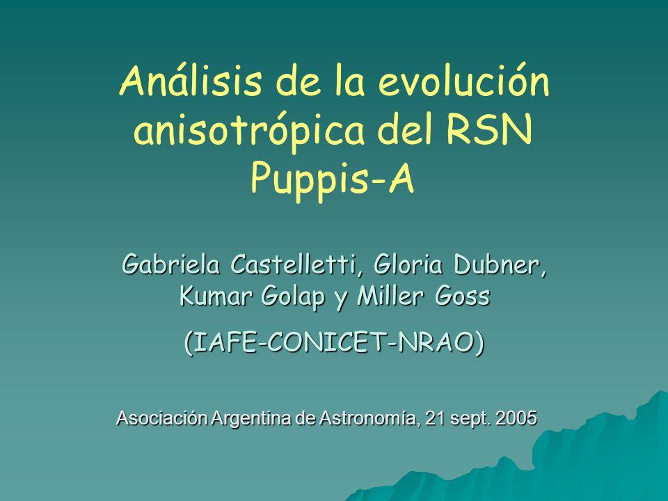 Análisis de la evolución anisotrópica del RSN Puppis-A Gabriela Castelletti, Gloria Dubner, Kumar Golap y Miller Goss (IAFE-CONICET-NRAO) Asociación A