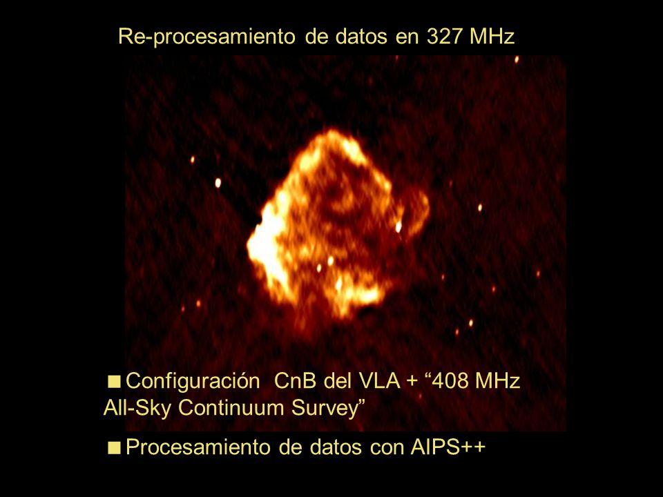 Re-procesamiento de datos en 327 MHz Configuración CnB del VLA + 408 MHz All-Sky Continuum Survey Procesamiento de datos con AIPS++