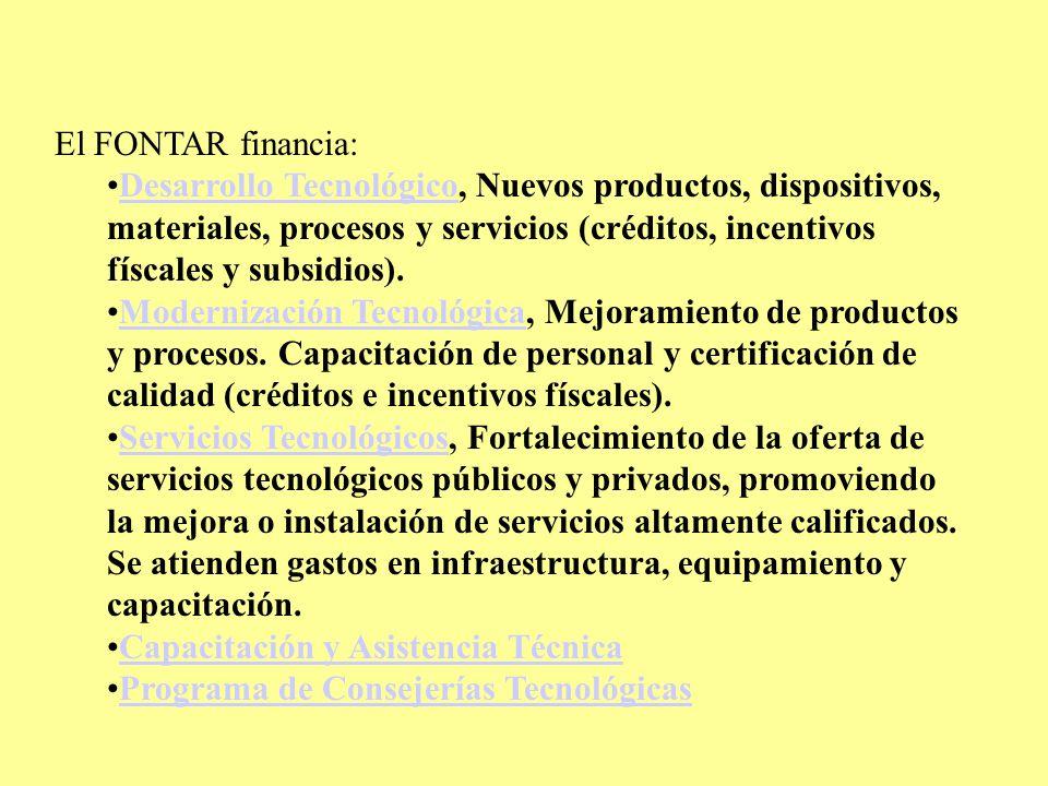 El FONTAR financia: Desarrollo Tecnológico, Nuevos productos, dispositivos, materiales, procesos y servicios (créditos, incentivos físcales y subsidios).Desarrollo Tecnológico Modernización Tecnológica, Mejoramiento de productos y procesos.