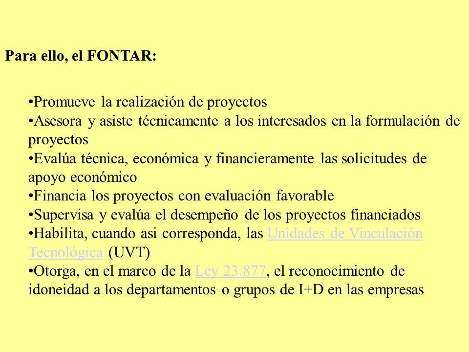 Para ello, el FONTAR: Promueve la realización de proyectos Asesora y asiste técnicamente a los interesados en la formulación de proyectos Evalúa técnica, económica y financieramente las solicitudes de apoyo económico Financia los proyectos con evaluación favorable Supervisa y evalúa el desempeño de los proyectos financiados Habilita, cuando asi corresponda, las Unidades de Vinculación Tecnológica (UVT)Unidades de Vinculación Tecnológica Otorga, en el marco de la Ley 23.877, el reconocimiento de idoneidad a los departamentos o grupos de I+D en las empresasLey 23.877