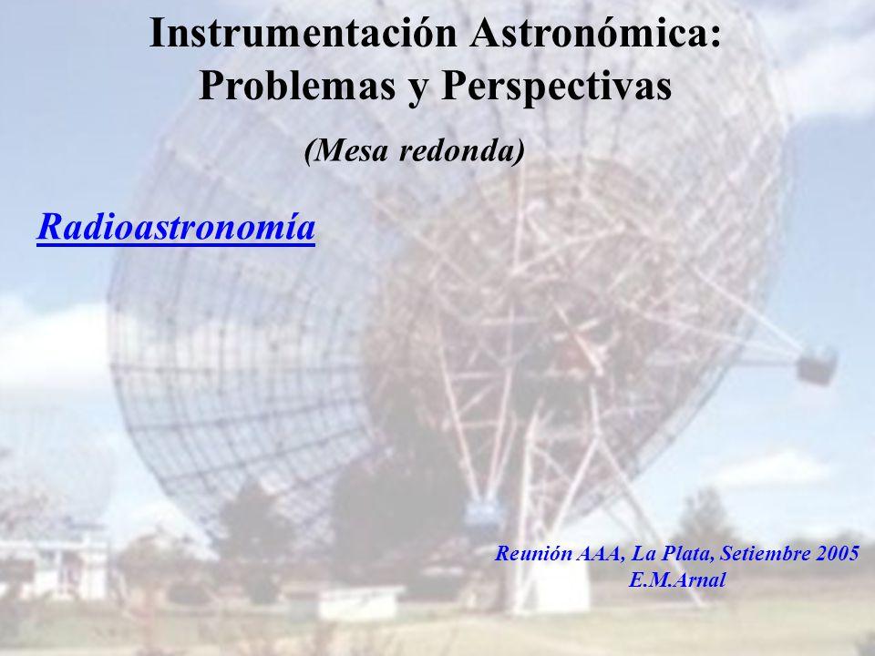 Instituto Argentino de Radioastronomía1 Instrumentación Astronómica: Problemas y Perspectivas Radioastronomía Reunión AAA, La Plata, Setiembre 2005 E.M.Arnal (Mesa redonda)