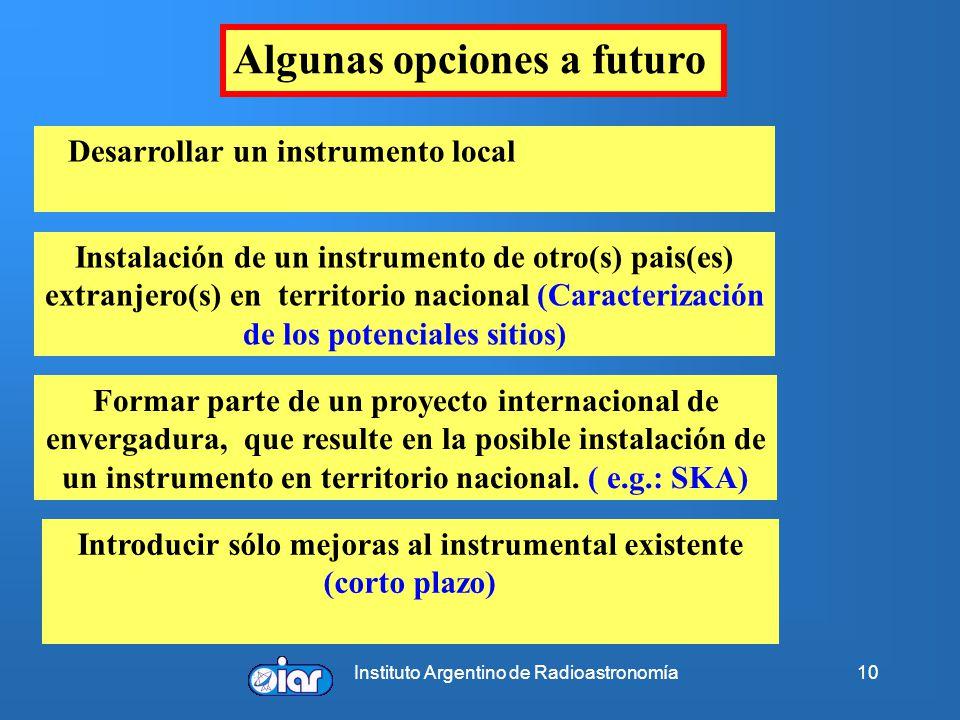 Instituto Argentino de Radioastronomía10 Algunas opciones a futuro Desarrollar un instrumento local Instalación de un instrumento de otro(s) pais(es)