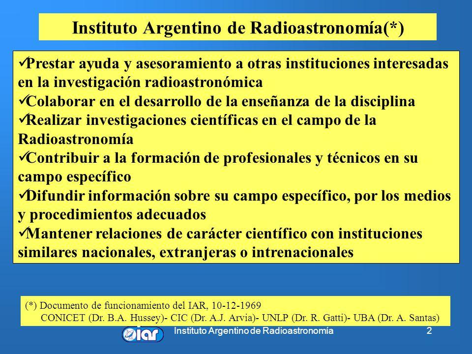 Instituto Argentino de Radioastronomía2 Prestar ayuda y asesoramiento a otras instituciones interesadas en la investigación radioastronómica Colaborar