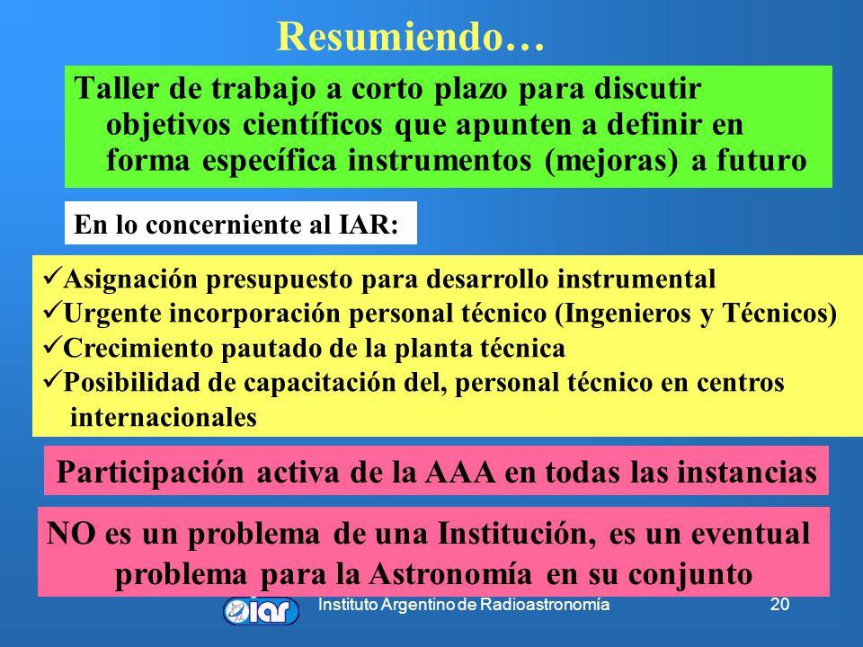 Instituto Argentino de Radioastronomía20 Resumiendo… Taller de trabajo a corto plazo para discutir objetivos científicos que apunten a definir en forma específica instrumentos (mejoras) a futuro En lo concerniente al IAR: Asignación presupuesto para desarrollo instrumental Urgente incorporación personal técnico (Ingenieros y Técnicos) Crecimiento pautado de la planta técnica Posibilidad de capacitación del, personal técnico en centros internacionales Participación activa de la AAA en todas las instancias NO es un problema de una Institución, es un eventual problema para la Astronomía en su conjunto