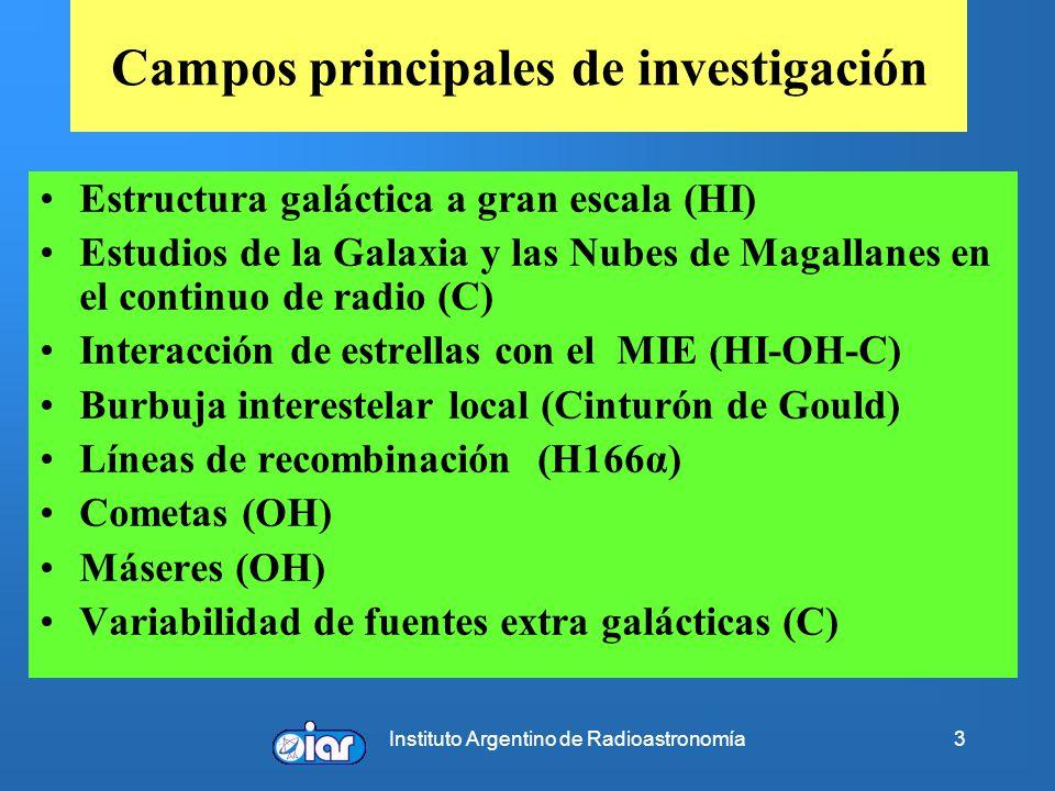 Instituto Argentino de Radioastronomía3 Campos principales de investigación Estructura galáctica a gran escala (HI) Estudios de la Galaxia y las Nubes de Magallanes en el continuo de radio (C) Interacción de estrellas con el MIE (HI-OH-C) Burbuja interestelar local (Cinturón de Gould) Líneas de recombinación (H166α) Cometas (OH) Máseres (OH) Variabilidad de fuentes extra galácticas (C)