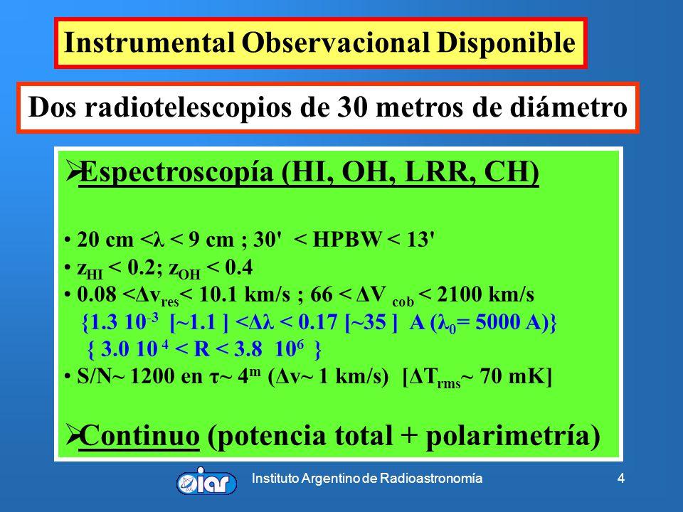 Instituto Argentino de Radioastronomía4 Instrumental Observacional Disponible Espectroscopía (HI, OH, LRR, CH) 20 cm <λ < 9 cm ; 30' < HPBW < 13' z HI