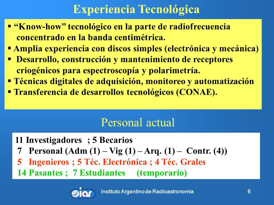 Instituto Argentino de Radioastronomía6 Know-how tecnológico en la parte de radiofrecuencia concentrado en la banda centimétrica. Amplia experiencia c