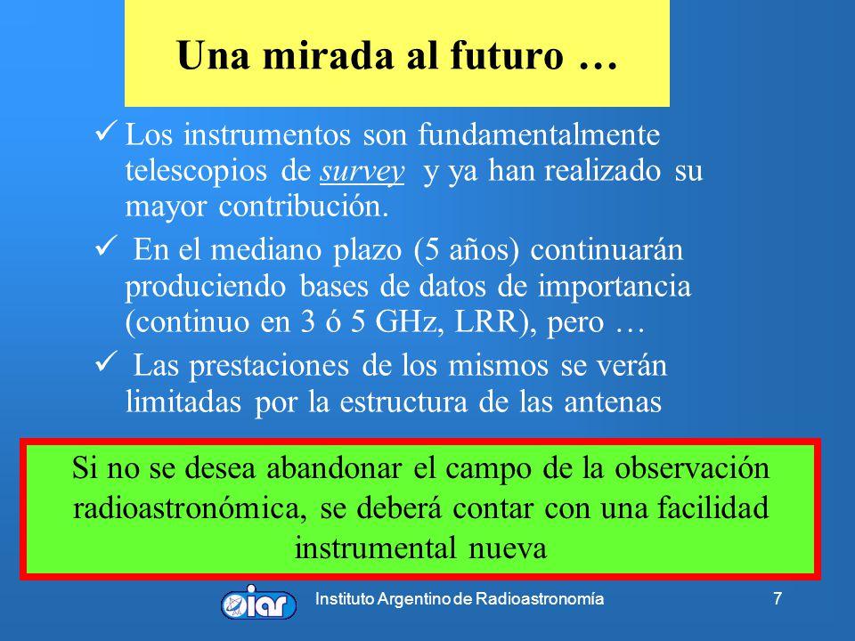 Instituto Argentino de Radioastronomía7 Una mirada al futuro … Los instrumentos son fundamentalmente telescopios de survey y ya han realizado su mayor