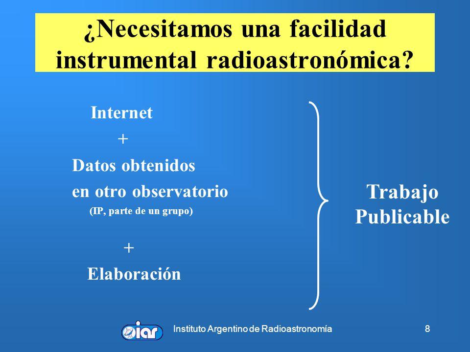 Instituto Argentino de Radioastronomía8 ¿Necesitamos una facilidad instrumental radioastronómica? Internet + Datos obtenidos en otro observatorio (IP,
