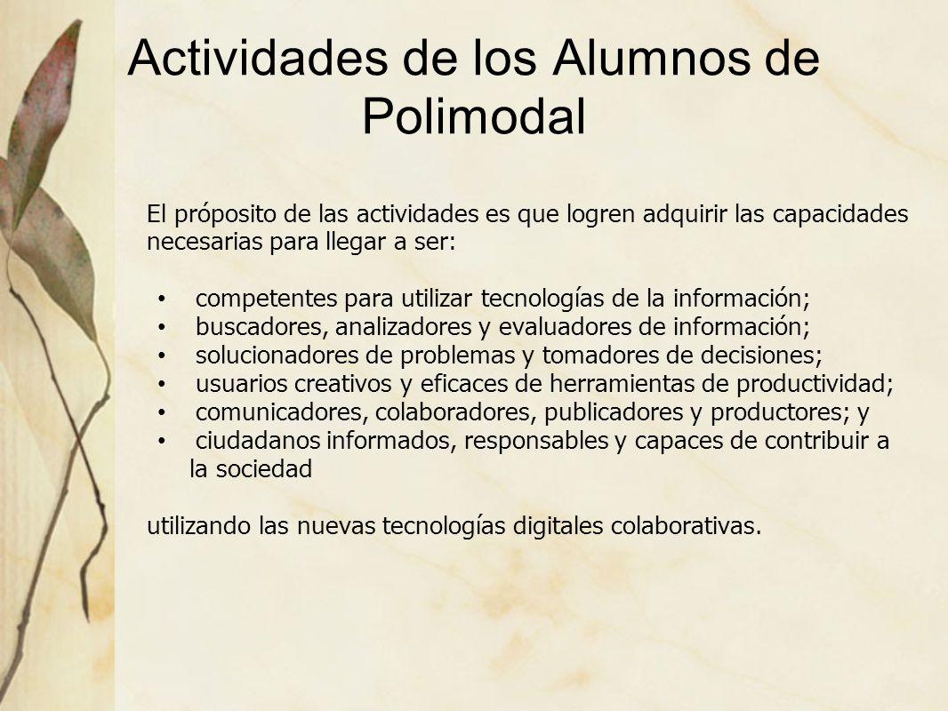 Actividades de los Alumnos de Polimodal El próposito de las actividades es que logren adquirir las capacidades necesarias para llegar a ser: competent