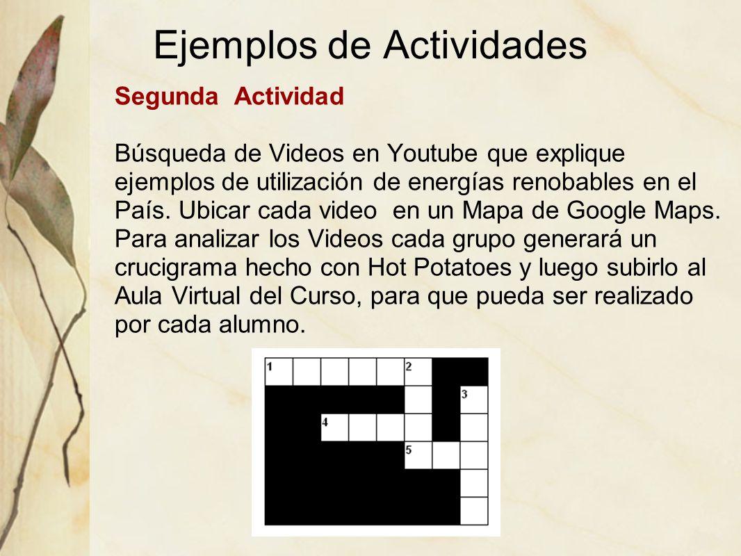 Ejemplos de Actividades Segunda Actividad Búsqueda de Videos en Youtube que explique ejemplos de utilización de energías renobables en el País. Ubicar