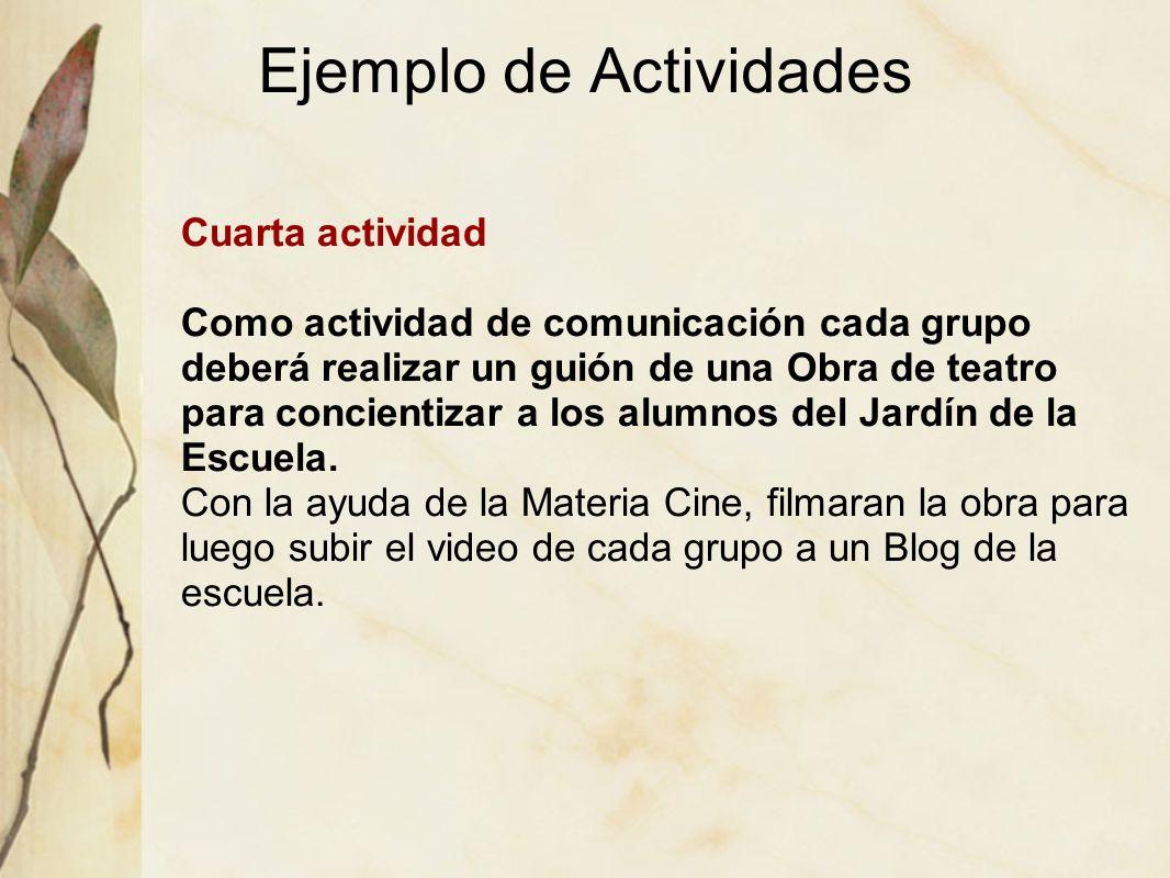Ejemplo de Actividades Cuarta actividad Como actividad de comunicación cada grupo deberá realizar un guión de una Obra de teatro para concientizar a l