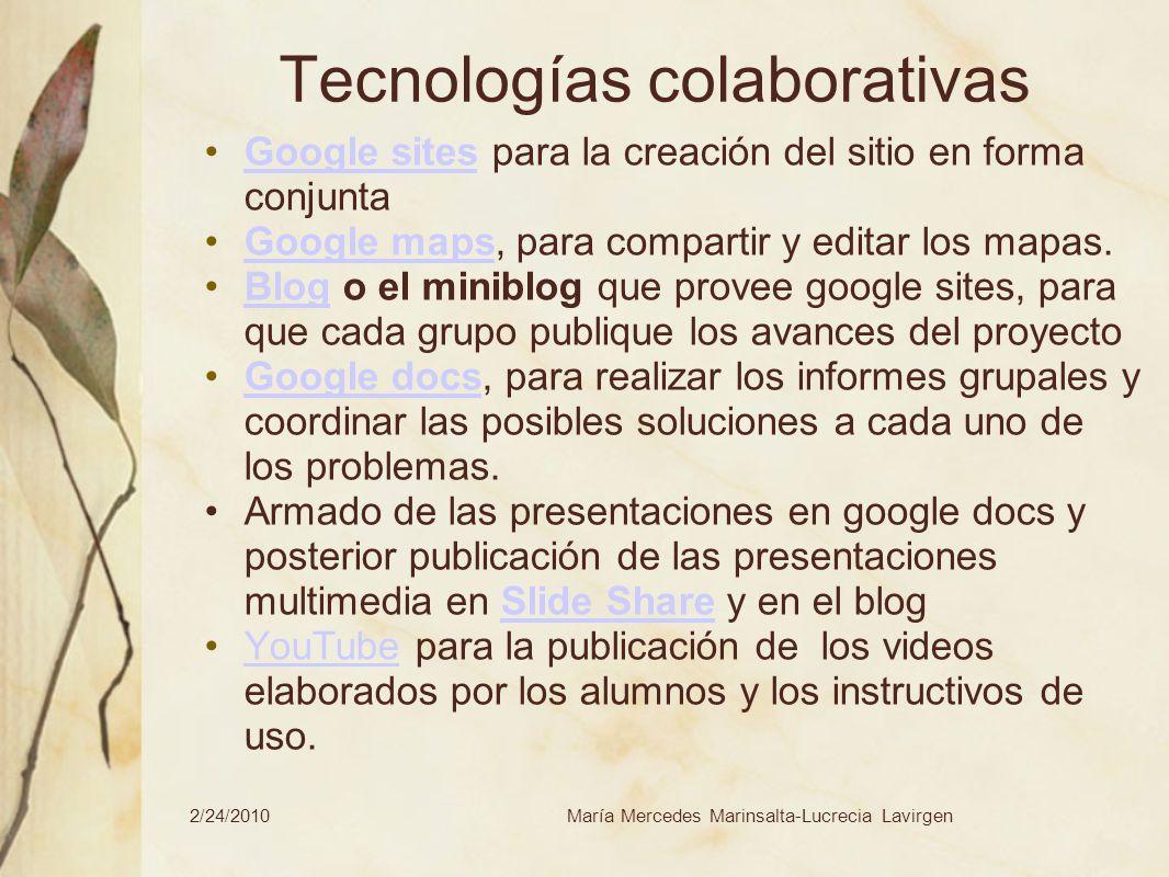 2/24/2010María Mercedes Marinsalta-Lucrecia Lavirgen Tecnologías colaborativas Google sites para la creación del sitio en forma conjuntaGoogle sites G