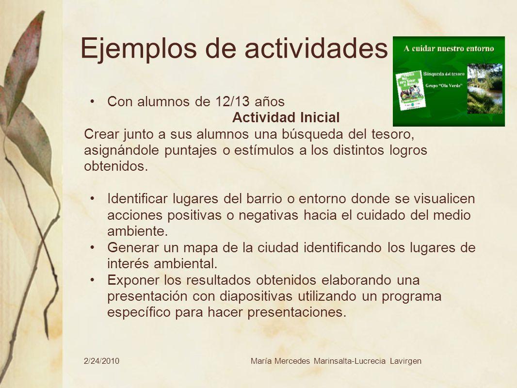 2/24/2010María Mercedes Marinsalta-Lucrecia Lavirgen Ejemplos de actividades Con alumnos de 12/13 años Actividad Inicial Crear junto a sus alumnos una