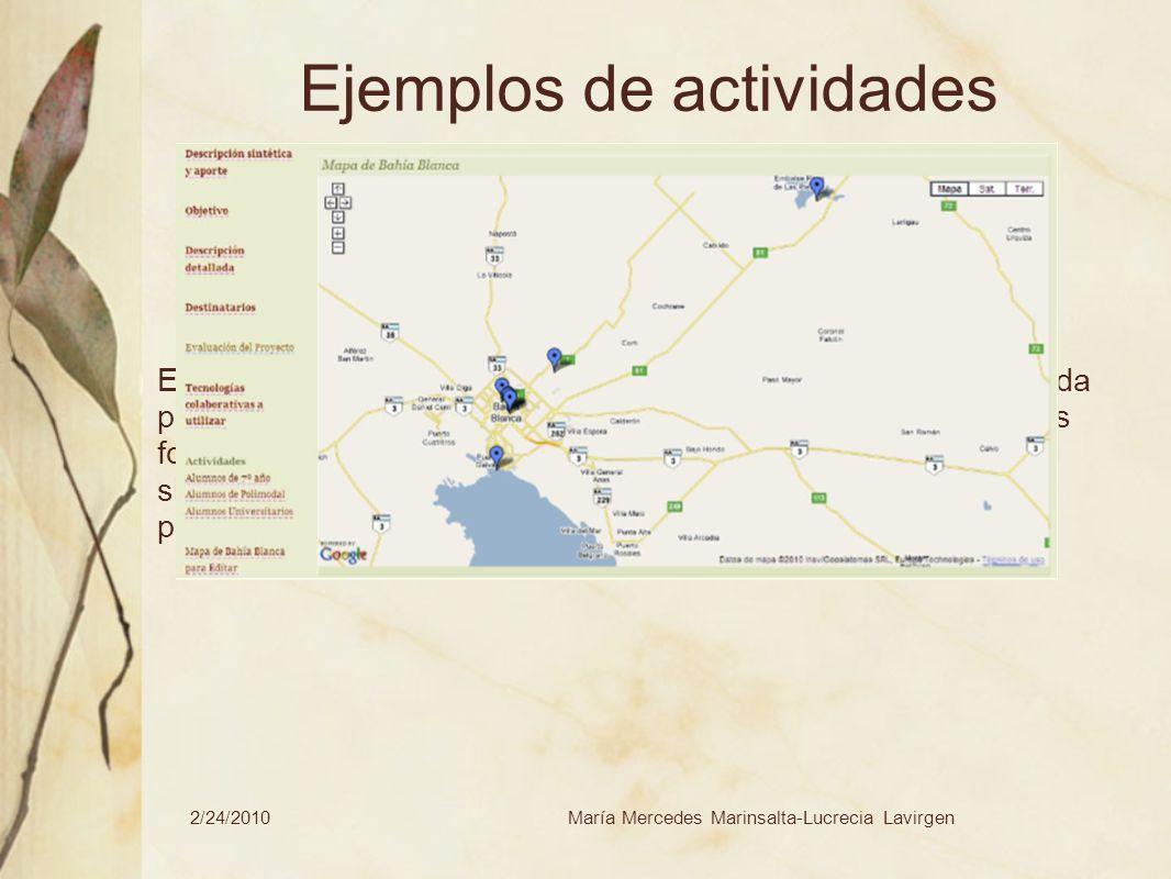 2/24/2010María Mercedes Marinsalta-Lucrecia Lavirgen Ejemplos de actividades En la sala de informática se trabajará con la información recogida por ca
