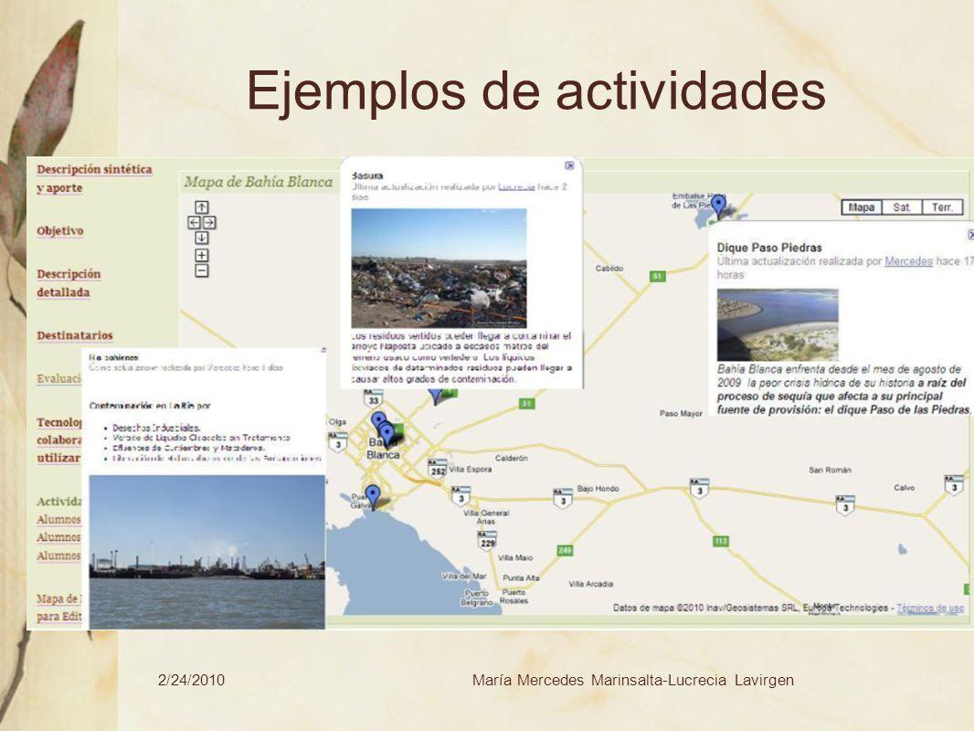2/24/2010María Mercedes Marinsalta-Lucrecia Lavirgen Ejemplos de actividades Determinar y ver en qué situación se encuentra nuestro entorno, cuáles son los problemas más preocupantes.