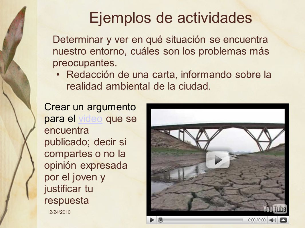 2/24/2010María Mercedes Marinsalta-Lucrecia Lavirgen Ejemplos de actividades Determinar y ver en qué situación se encuentra nuestro entorno, cuáles so