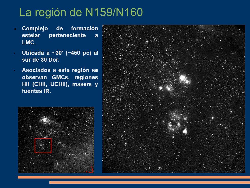 La región de N159/N160 Complejo de formación estelar perteneciente a LMC. Ubicada a ~30' (~450 pc) al sur de 30 Dor. Asociados a esta región se observ