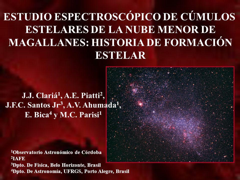 ESTUDIO ESPECTROSCÓPICO DE CÚMULOS ESTELARES DE LA NUBE MENOR DE MAGALLANES: HISTORIA DE FORMACIÓN ESTELAR 1 Observatorio Astronómico de Córdoba 2 IAF