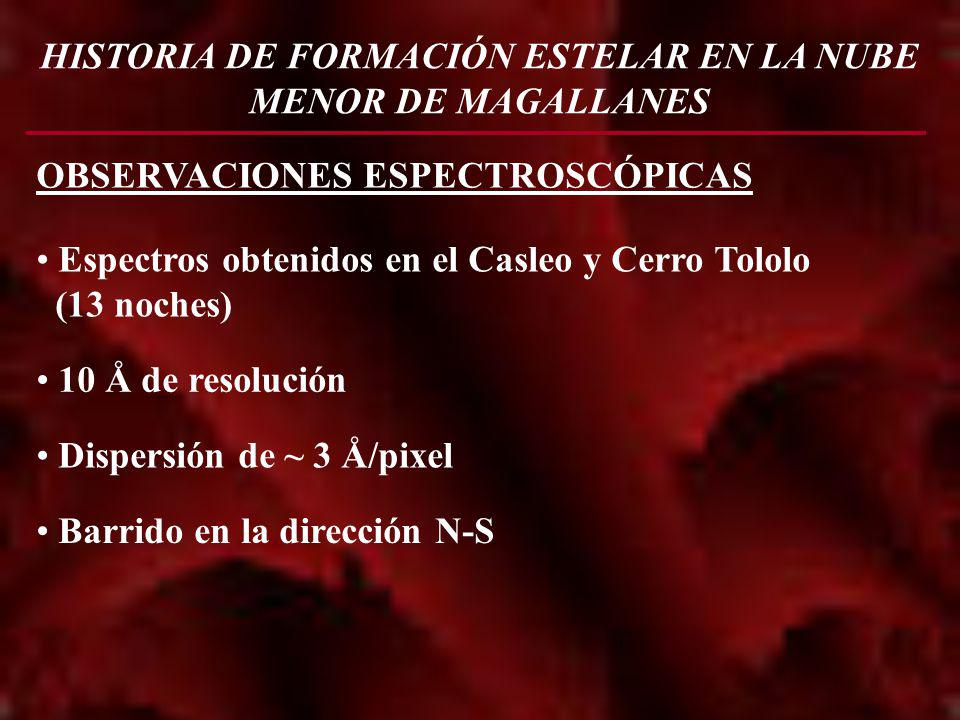 HISTORIA DE FORMACIÓN ESTELAR EN LA NUBE MENOR DE MAGALLANES OBSERVACIONES ESPECTROSCÓPICAS Espectros obtenidos en el Casleo y Cerro Tololo (13 noches