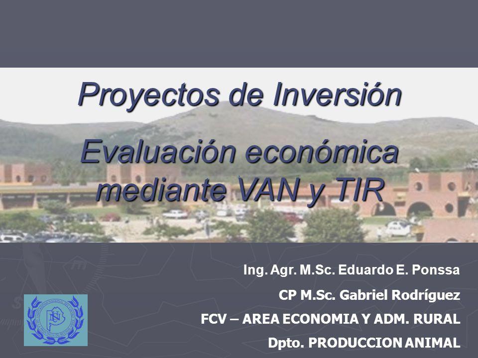 . Ing. Agr. M.Sc. Eduardo E. Ponssa CP M.Sc. Gabriel Rodríguez FCV – AREA ECONOMIA Y ADM. RURAL Dpto. PRODUCCION ANIMAL Proyectos de Inversión Evaluac