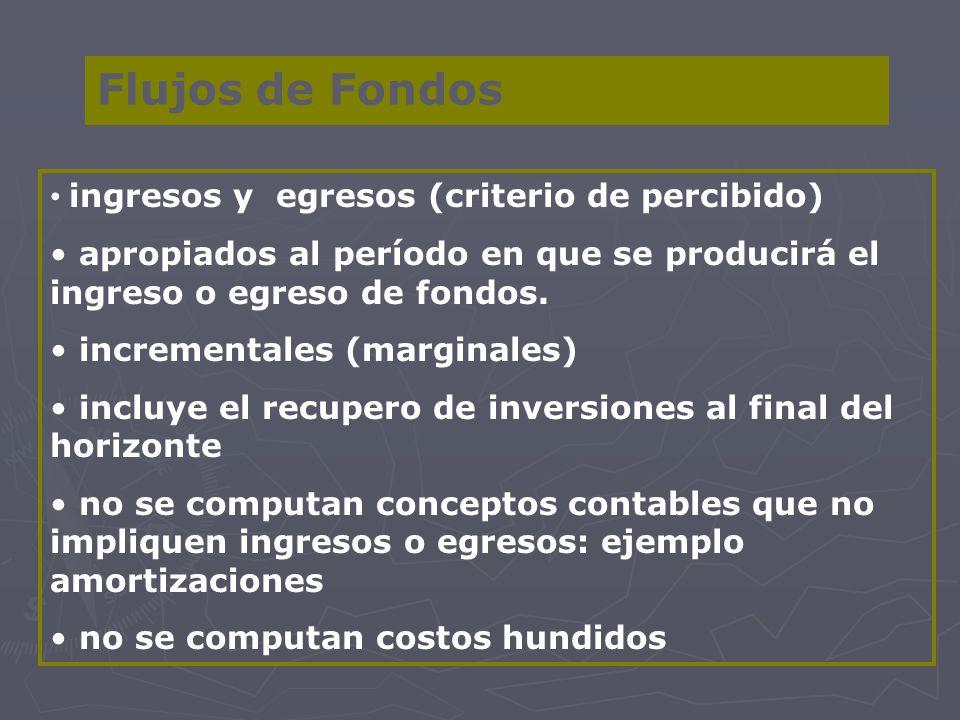 Flujos de Fondos ingresos y egresos (criterio de percibido) apropiados al período en que se producirá el ingreso o egreso de fondos. incrementales (ma