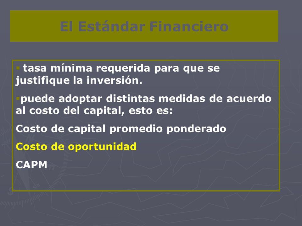 El Estándar Financiero tasa mínima requerida para que se justifique la inversión. puede adoptar distintas medidas de acuerdo al costo del capital, est
