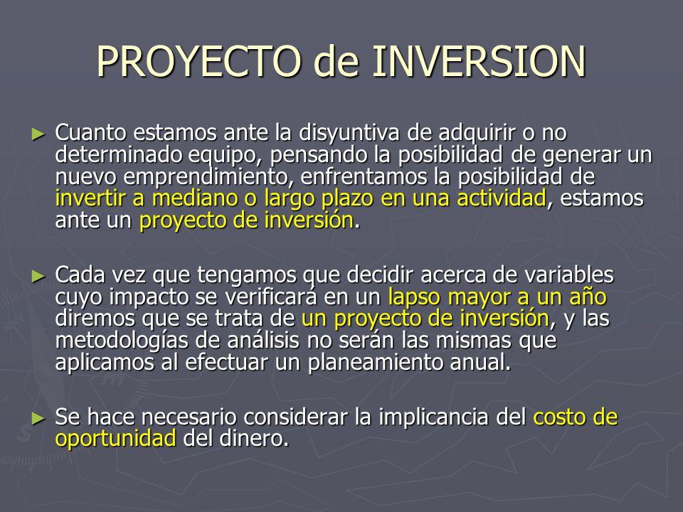 PROYECTO de INVERSION Cuanto estamos ante la disyuntiva de adquirir o no determinado equipo, pensando la posibilidad de generar un nuevo emprendimient