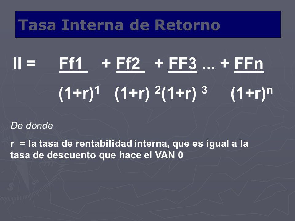 Tasa Interna de Retorno II = Ff1 + Ff2 + FF3... + FFn (1+r) 1 (1+r) 2 (1+r) 3 (1+r) n De donde r = la tasa de rentabilidad interna, que es igual a la
