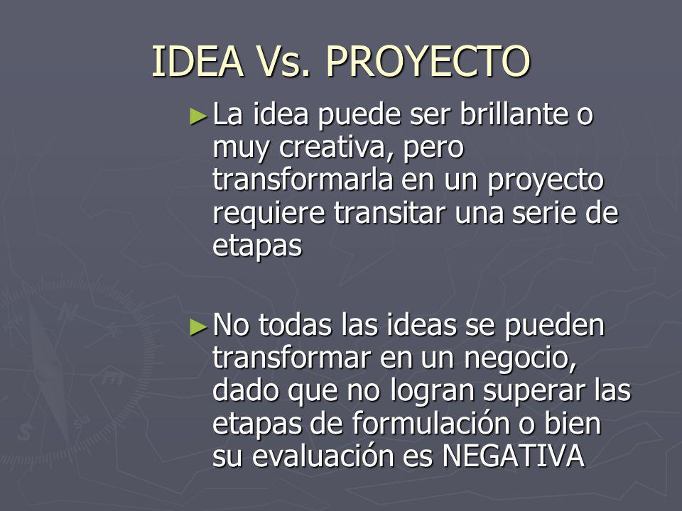 IDEA Vs. PROYECTO La idea puede ser brillante o muy creativa, pero transformarla en un proyecto requiere transitar una serie de etapas La idea puede s