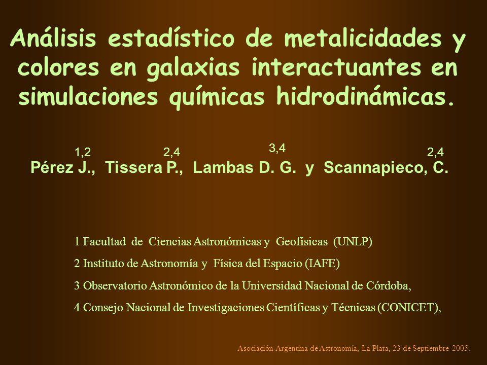 Análisis estadístico de metalicidades y colores en galaxias interactuantes en simulaciones químicas hidrodinámicas.