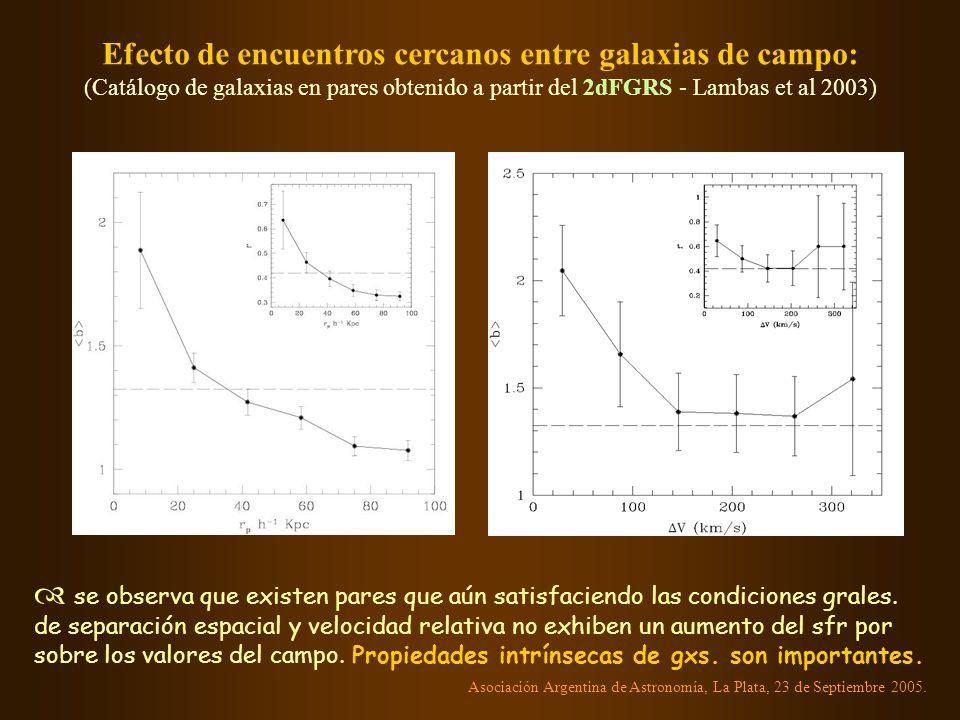 Efecto de encuentros cercanos entre galaxias de campo: (Catálogo de galaxias en pares obtenido a partir del 2dFGRS - Lambas et al 2003) se observa que existen pares que aún satisfaciendo las condiciones grales.