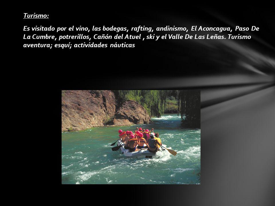 Turismo: Es visitado por el vino, las bodegas, rafting, andinismo, El Aconcagua, Paso De La Cumbre, potrerillos, Cañón del Atuel, ski y el Valle De La
