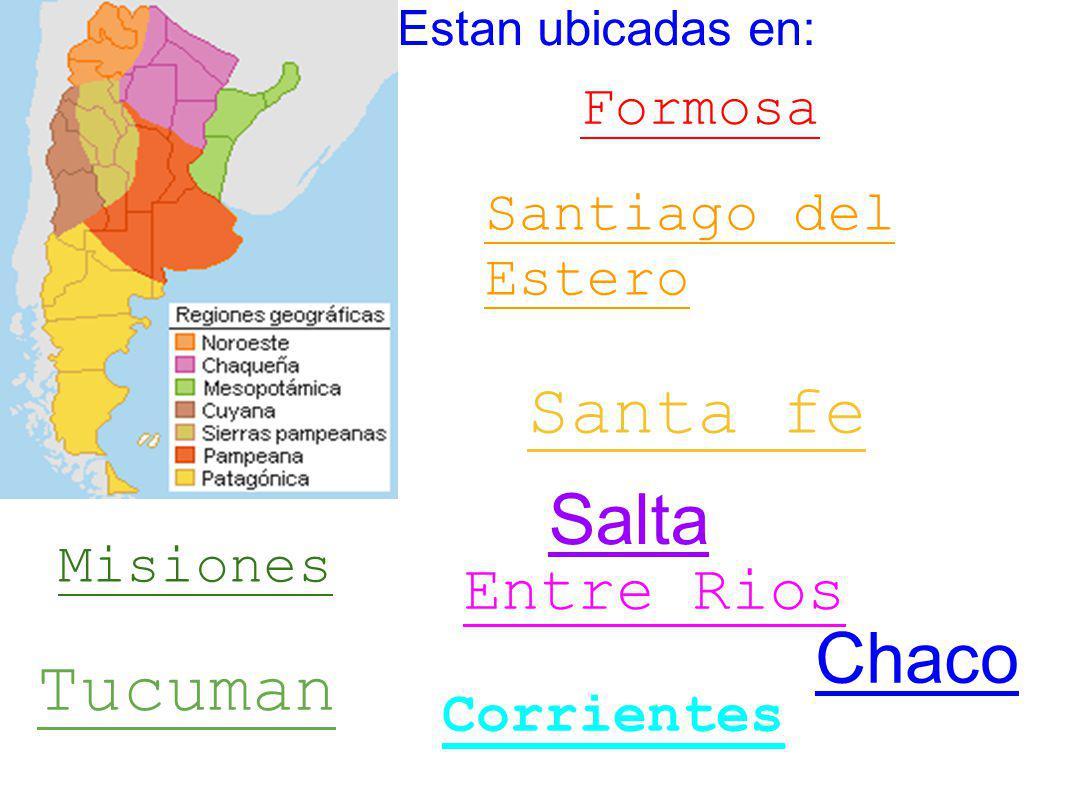 Estan ubicadas en: Misiones Corrientes Entre Rios Santa fe Santiago del Estero Tucuman Formosa Salta Chaco
